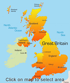 Map of the UK and Ireland for cottages