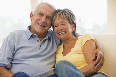 Older couple enjoying a cottage for couples